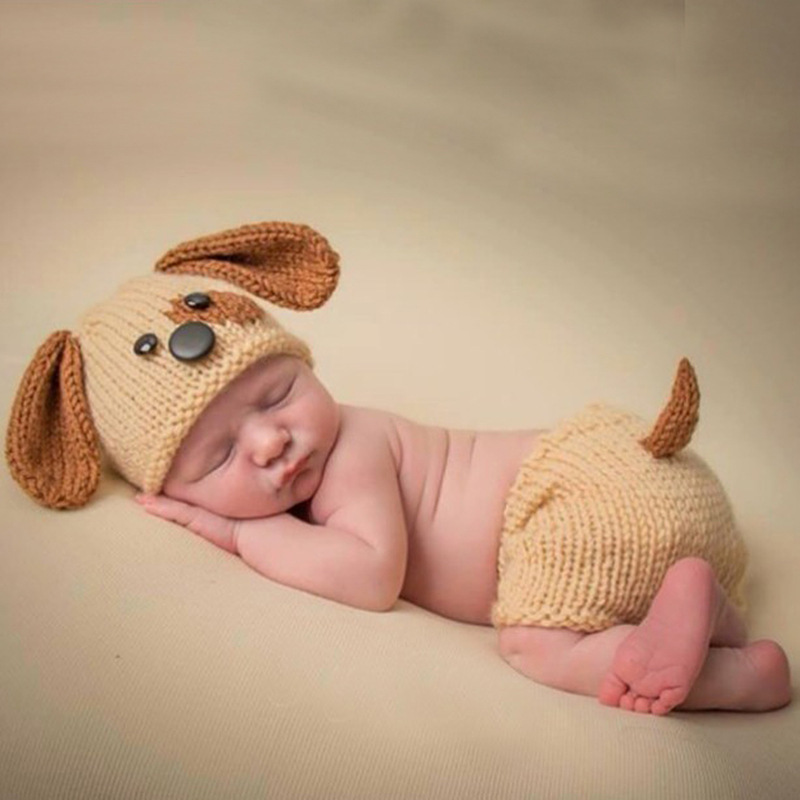 Baby Boy Photography Props Studio Baby Photography Costume Cute Baby Knit Hat+Shorts Set Newborn Photo Props Babies Accessories