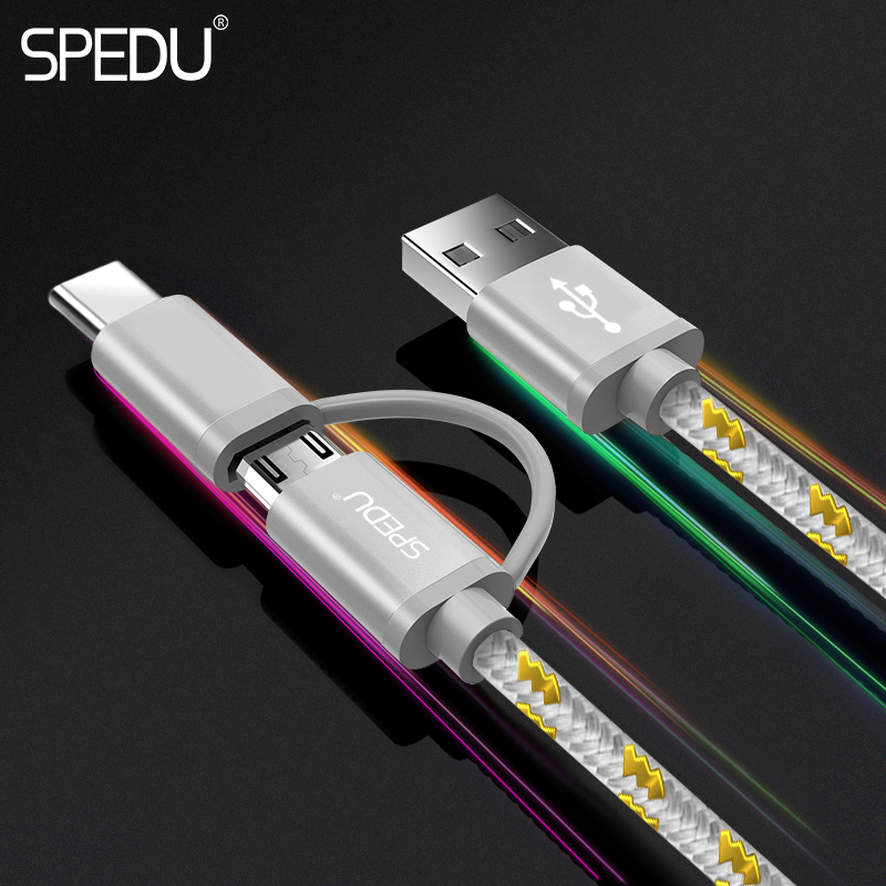 SPEDU 2in1 USB <font><b>Cable</b></font> for iPhone X 8 7 <font><b>6</b></font> <font><b>Cable</b></font> Micro USB Type C <font><b>Cable</b></font> for Samsung S9 S8 Fast Charging <font><b>Cable</b></font> 2A Charger Cord image