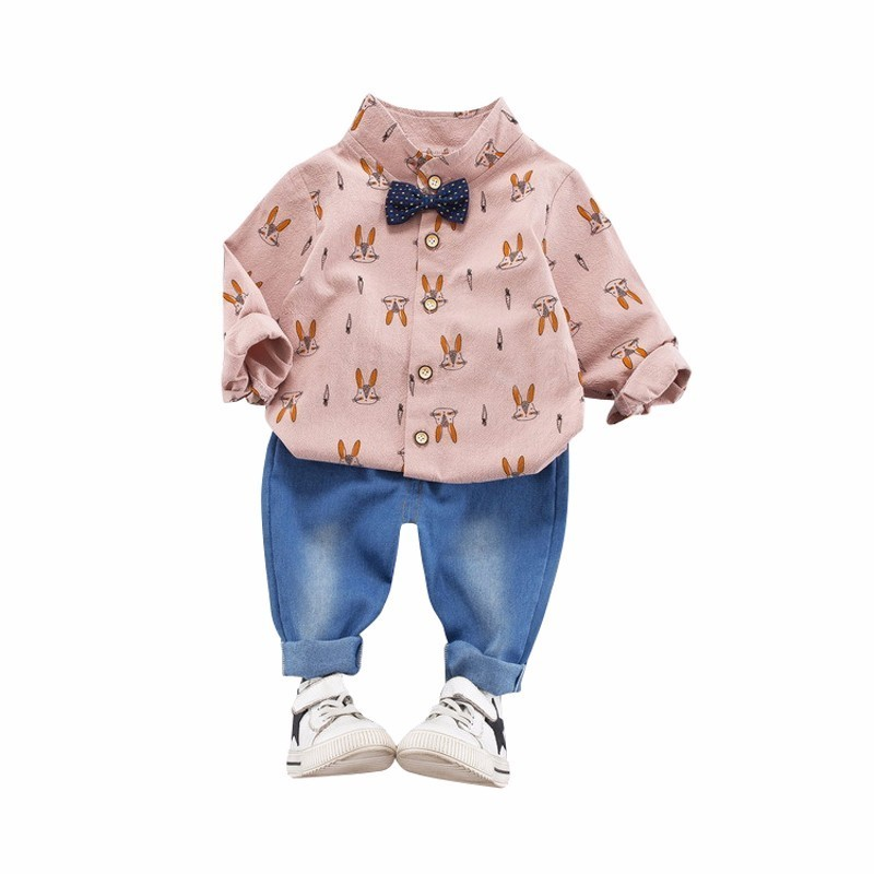 2019 New Spring Baby Boys Gentleman Clothing Kids Uniform Clothes Infant Birthday Suits Long Sleeve Tie Shirt Jeans 2pcs/sets