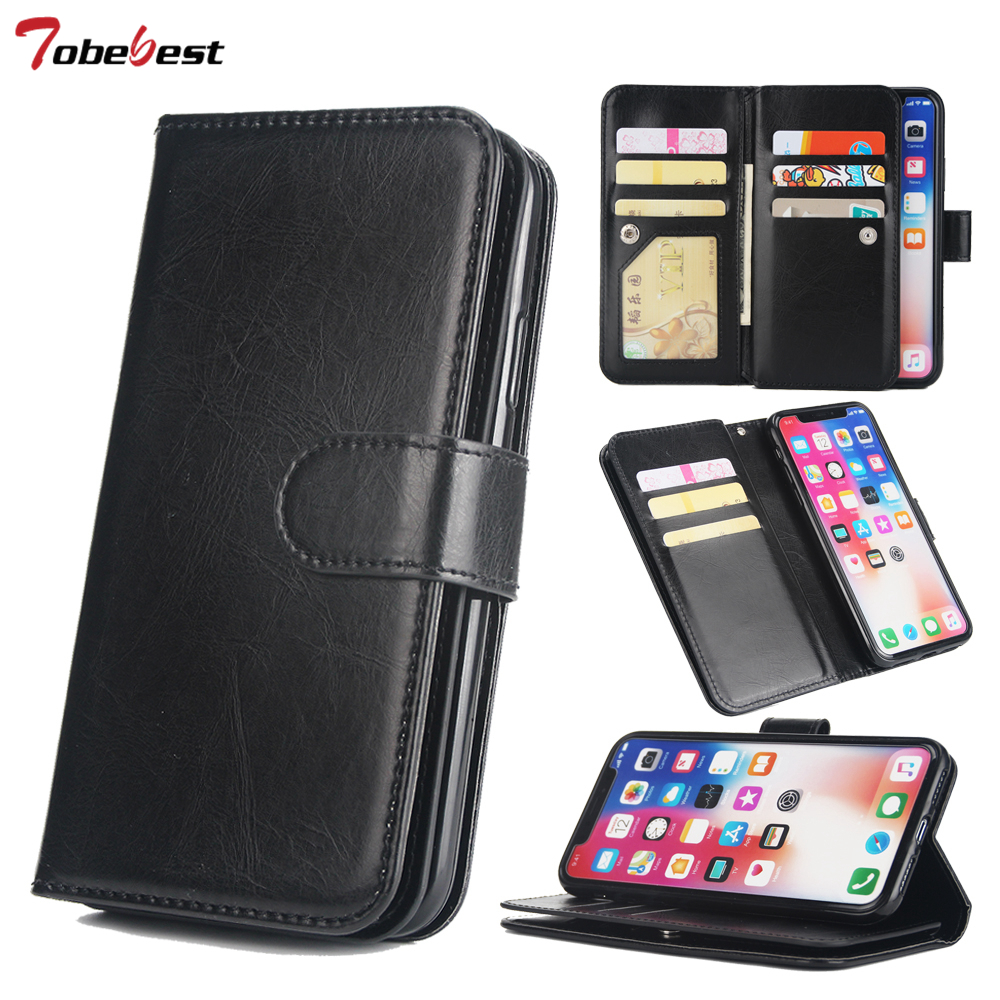 For iPhone X XS MAX XR 5 5s SE 6 6S 7 Plus 8 Plus Case Leather Book Flip Design Multiple Card Holders Wallet Phone Cases CoverFor iPhone X XS MAX XR 5 5s SE 6 6S 7 Plus 8 Plus Case Leather Book Flip Design Multiple Card Holders Wallet Phone Cases Cover