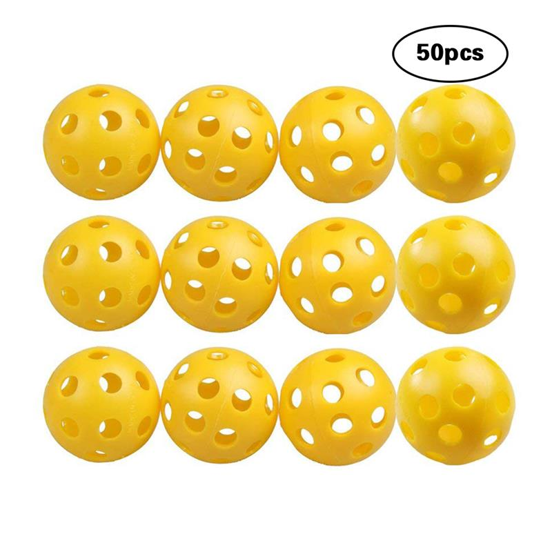 50 Pcs Plastic Golf Practice Ball Airflow Hollow Golf Balls 26 Holes Training Balls Sports Indoor Golf Practice Training Yellow
