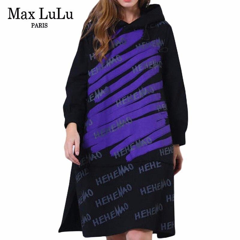 Max LuLu 2019 Spring Vintage Korean Ladies Punk Streetwear Womens Printed Casual Dresses Hooded Vestidos Woman