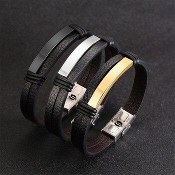ad82bb121737 Pulseras de cuero negro para hombre Vnox grabado personalizado personalizar  información pulsera masculina 8
