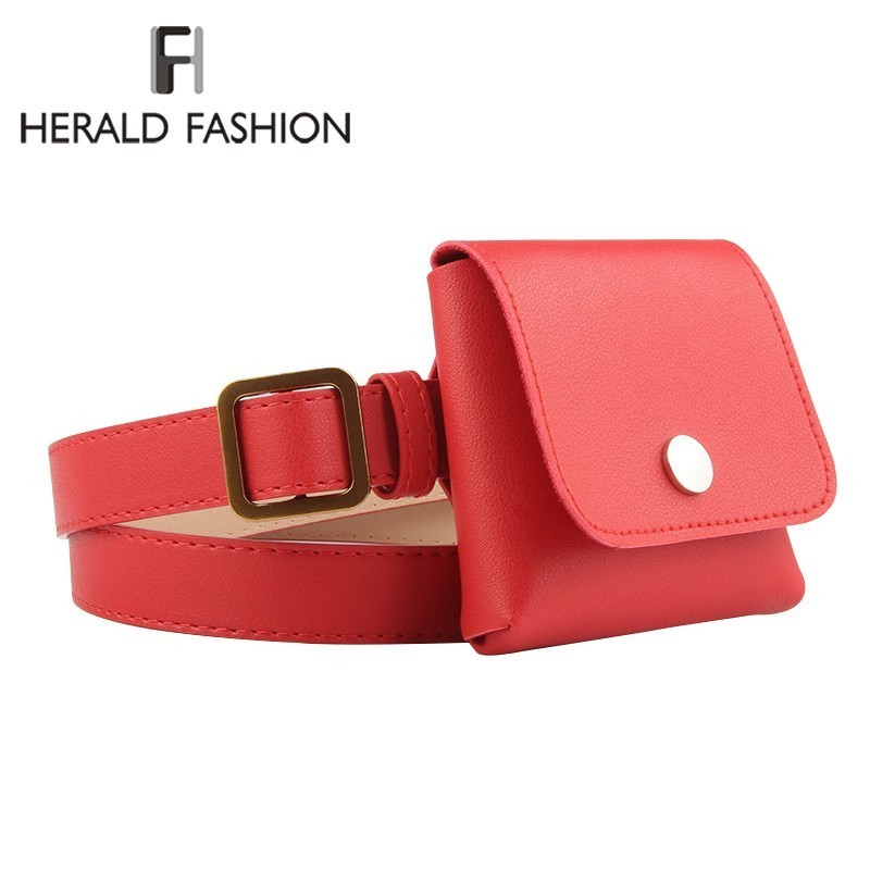 Herald Fashion Women Waist Pack Female Belt Bag Phone Pouch Bags Brand Design Envelope Bags For Ladies Girls Fanny Pack Bolosa