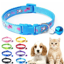 Nouveau mignon dessin animé colliers pour animaux de compagnie chiot réglable Polyester collier belle avec cloches imprimé chat chien collier collier approvisionnement(China)