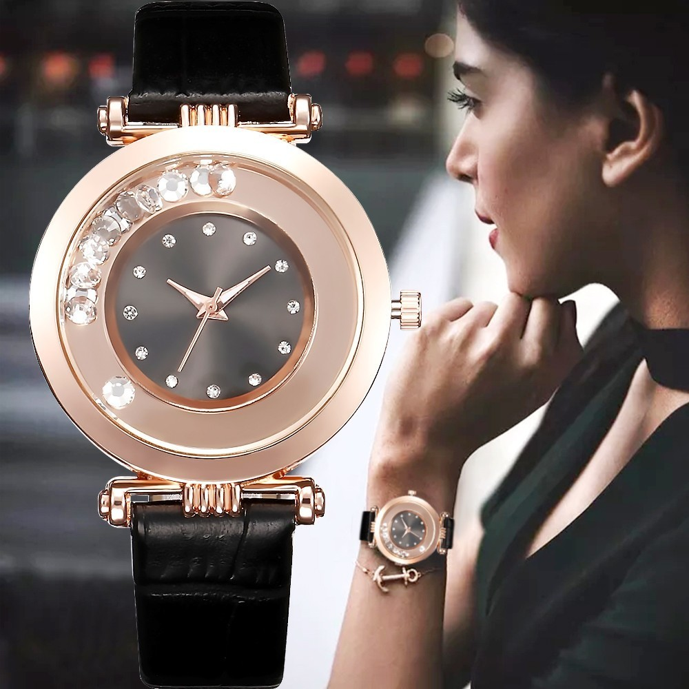 Khorasan Fashion Black Women Watches Luxury Leather Shiny Casual WristWatch Ladies Quartz Watch Reloj Mujer Montre Femme Clock
