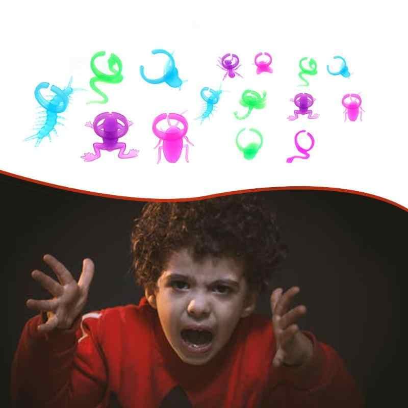 子供ギャグ玩具キッズノベルティミニプラスチック蛍光発光ムカデヘビヤモリ昆虫リングモデルカプセル玩具