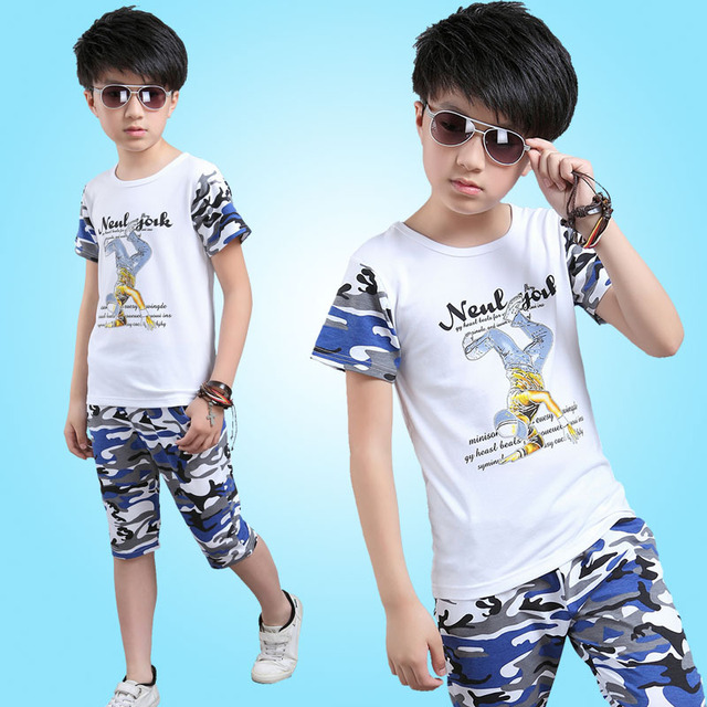 8ce28b030 The New Baby Boy Suit Short Sleeve T Shirt +pant Summer Children's Wear  Children Two Sets of Camouflage 4-14 Ages Kids Clothing