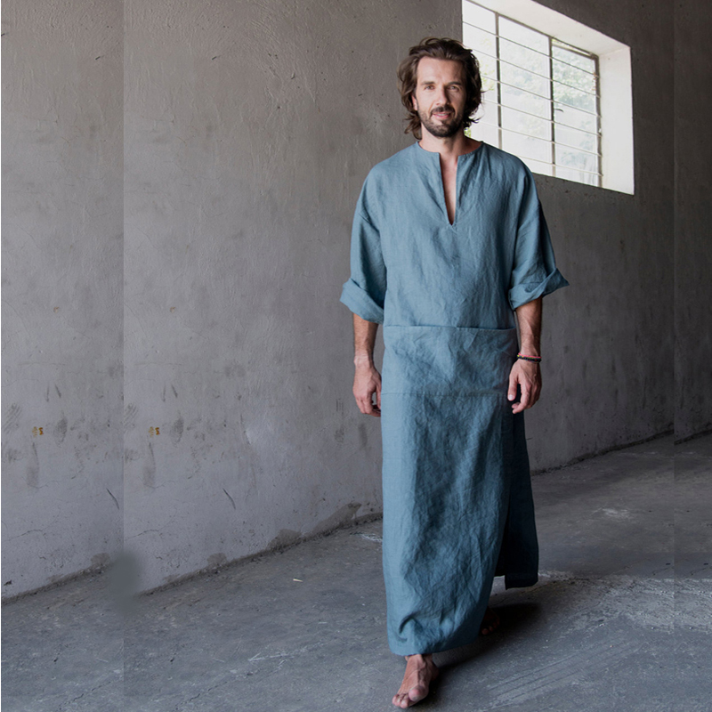 Men Full Length bathrobe Ultra Long Nature Cotton Linen Lounge Wear Home Robe male Loungewear Sleepwear
