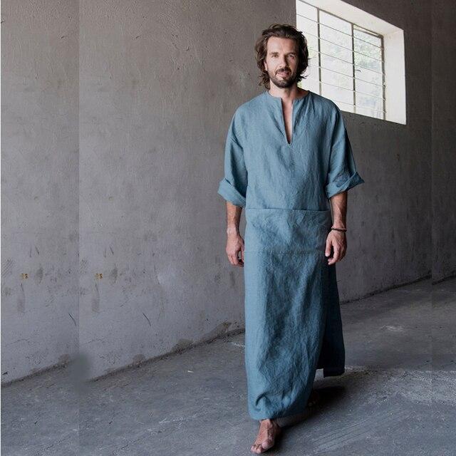 Men Full Length bathrobe Ultra Long Nature Cotton Linen Lounge Wear Home  Robe male Loungewear Sleepwear Kigurumi Pajamas gown 60c63465a