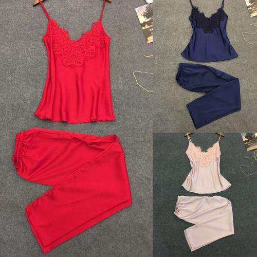 Spring  2Pcs Women Sexy Satin Lace Sleeveless Long Pants Sleepwear Babydoll Lingerie Nightdress Pajamas Set