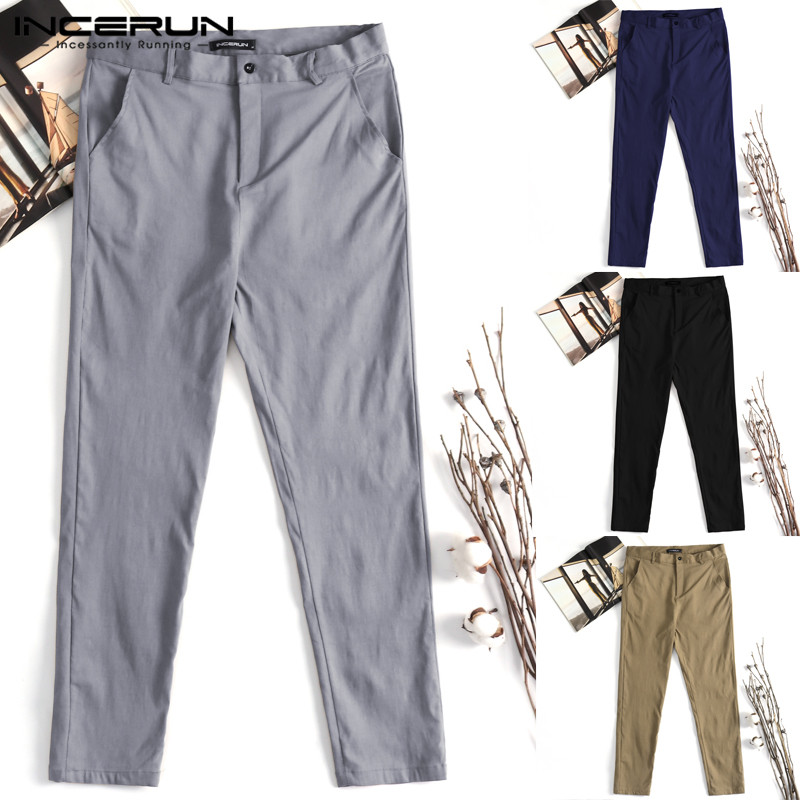 INCERUN Plus Size 3XL Stylish Chinos Mens Casual Pants Solid Button Covered Slim Fitness Trousers Male Clothing Pantalon Hombre