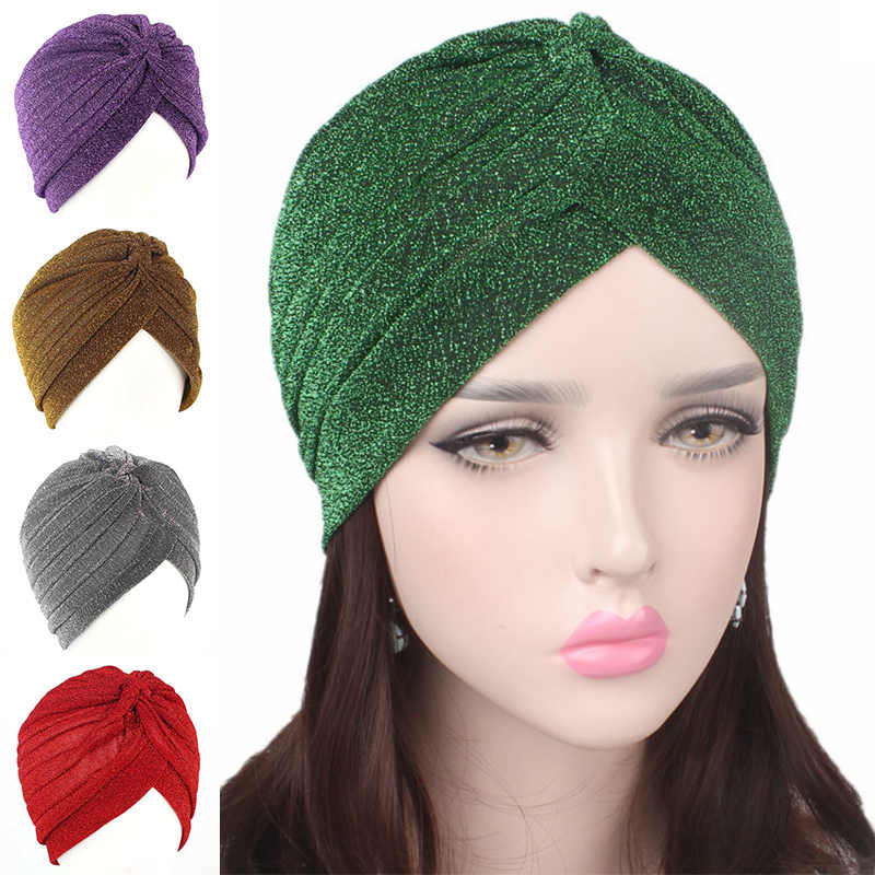 2019 Women Fashion New Gold Shiny Turban Stretchable Soft Bright Hat Indian Style Muslim Thin Hijab Turban Head Wraps