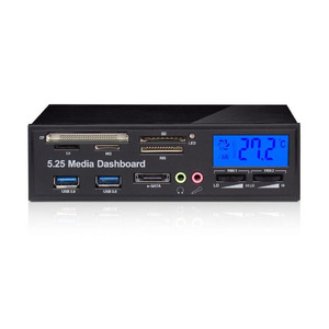 """Image 1 - Multi functional Media Panel 5.25"""" Computer Front Dashboard with SATA USB Microphone/Headphone Audio Port Integrated Card Reader"""
