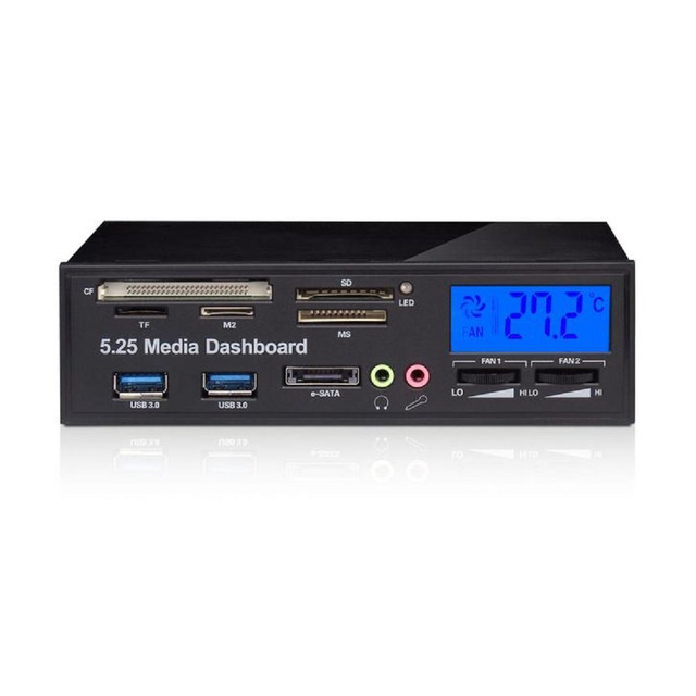 """Multi functional Media Panel 5.25"""" Computer Front Dashboard with SATA USB Microphone/Headphone Audio Port Integrated Card Reader"""