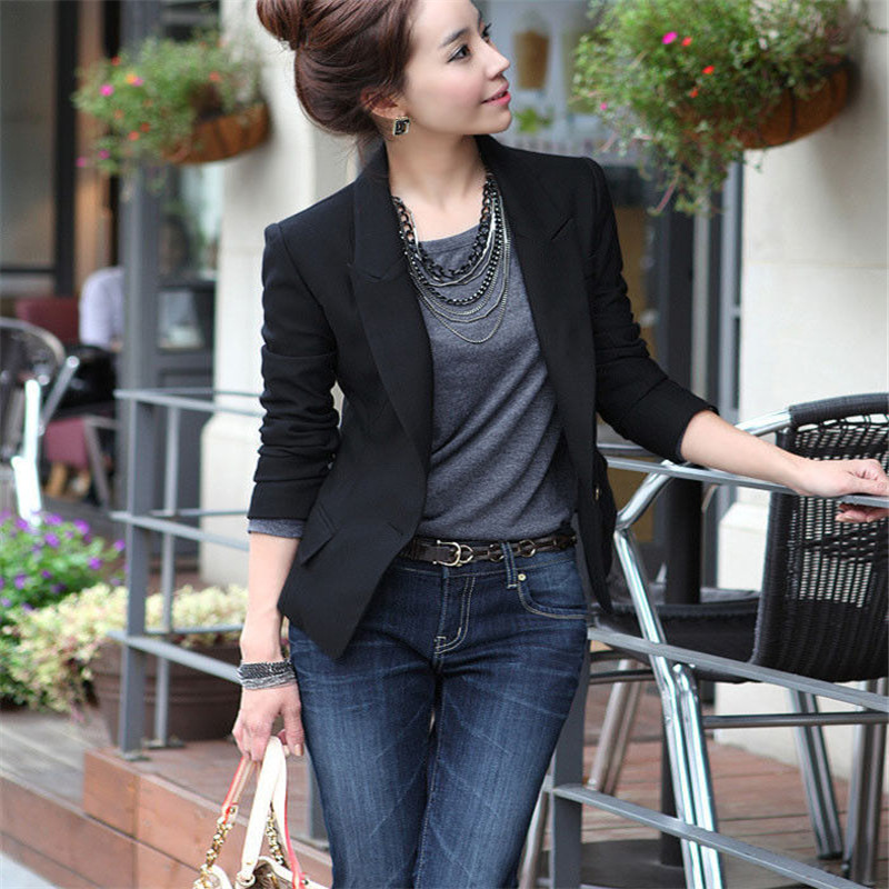 Ladies' Casual Skinny Cotton West Slim Short Blazer Ladies Top Pure Black Temperament Suit Top Single Button Blazers