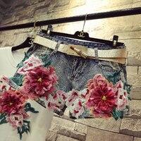 harajuku sexy Jean Shorts Women short Jeans Slim Denim Floral Embroidery Shorts Female Elastic Skinny wild Casual Egde Short Hot