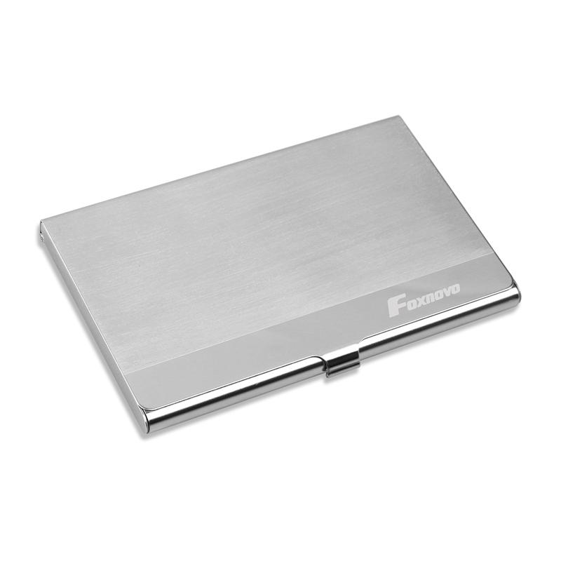 Foxnovo Portable Stainless Steel Business Name Credit Card Holder Card Case (Silver)|Hooks & Rails| |  - title=