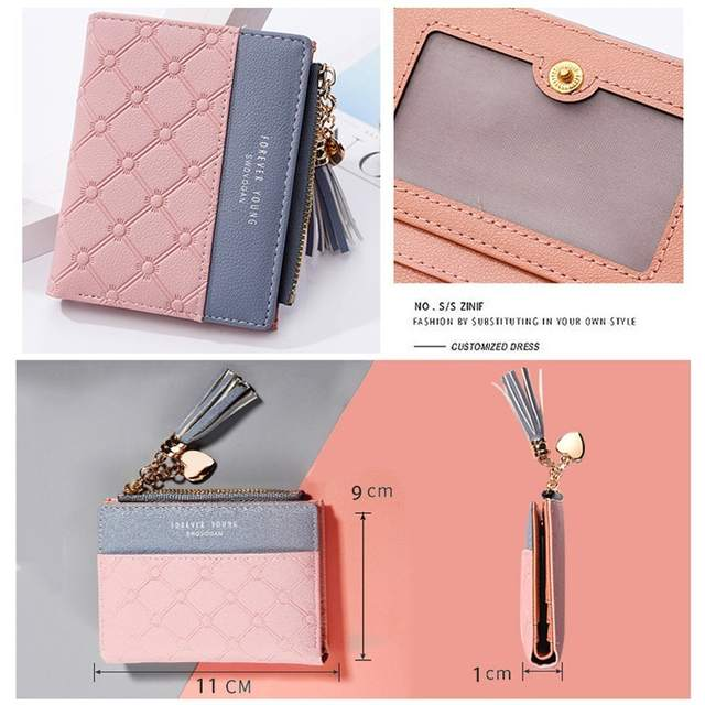 731a828db234 US $7.29 5% OFF|Women's Fashion Cute Embossed PU Leather Wallet Tassel  Zippers Purse with Coin Pocket for Girls Ladies-in Wallets from Luggage &  Bags ...