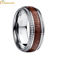 Vintage Men's Stainless Steel Ring White Crystal Acacia Wood Titanium Steel Wedding Ring For Men Male Valentine's Day Present