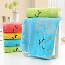 25*50CM Antibacterial Non-twisted Bath Towel Music Cat Pattern Bathroom Accessories 1Pcs Bamboo Fiber Wash Towels(China)