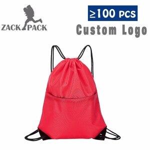 Zackpack حقيبة قطنية برباط مخصص LogoTraining قماش صغيرة على ظهره حقيبة فتاة المدرسة الرياضية للماء كيس Mochila DB8