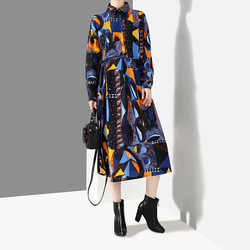 [EAM] 2019 New Autumn Winter Lapel Long Sleeve Blue Pattern Prited Loose Large Size Pocket Dress Women Fashion Tide JI485 2