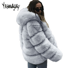 Faux Fur Coat Jacket Women Winter with Hood Plus Size 4XL Elegant Luxury Warm Thick Manteau Femme Hiver 2018 Faux Fur Coat Top