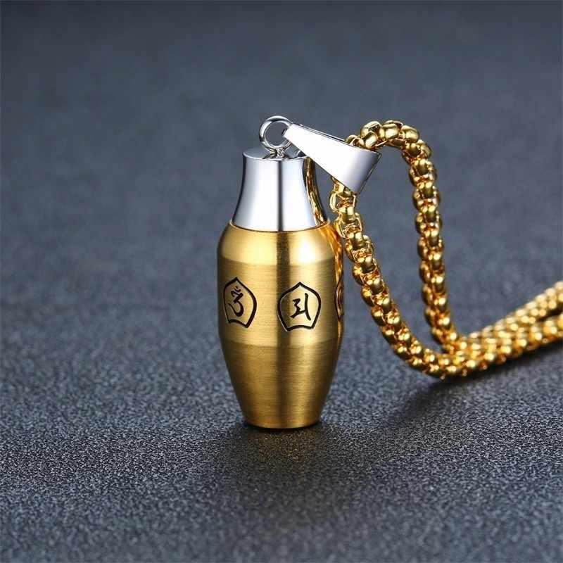 Ze stali nierdzewnej sześć słowo przysłowia butelka naszyjnik dla mężczyzn buddyzm Mantra popiołu urna Keepsake nekrobiżuteria