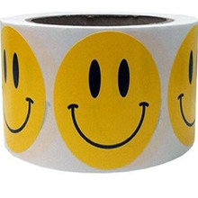 Yellow Happy  Smile Face Stickers 2 Round Circle Teacher Labels Self-adhesive for Cloth Bags Diary Decoration