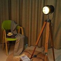 Tripod Floor Lamp Standing Lights Living room Decor Reading Lighting Wooden Triangle Modern Minimalist Industrial Luminaire