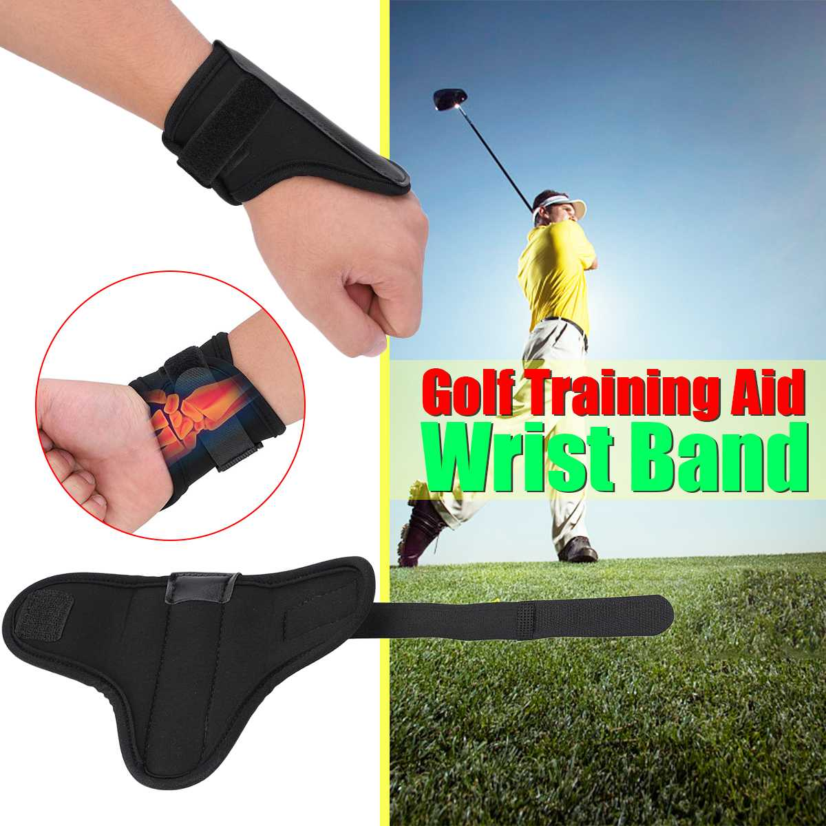 Golf Wrist Band Training Aid Swing Trainer Guide Golfer Train Fixator Holder Wrist Braces Trainer Corrector Golf Practice Tool