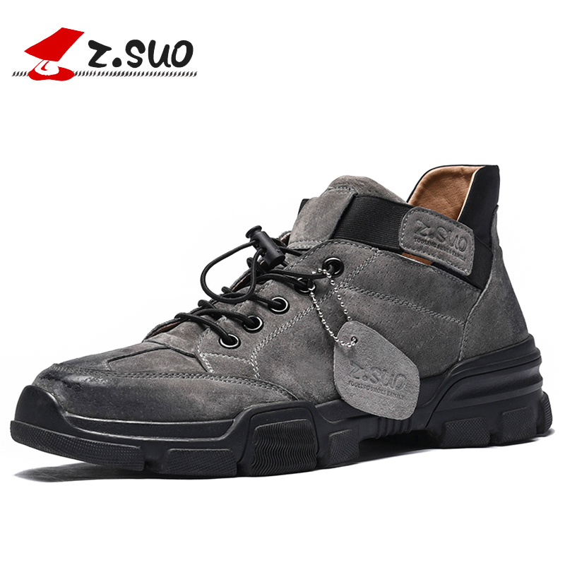 ZSUO Brand Genuine Leather Men's Casual Shoes Fashion Elastic Lock Laces Sneakers For Men Flat Outdoor Shoes Men Gray Black