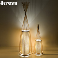 Japan Style Handmade Wooden Bamboo Floor Lamps Creative Standing Lights For Living Room Study Bedroom Teahouse Club H91cm E27