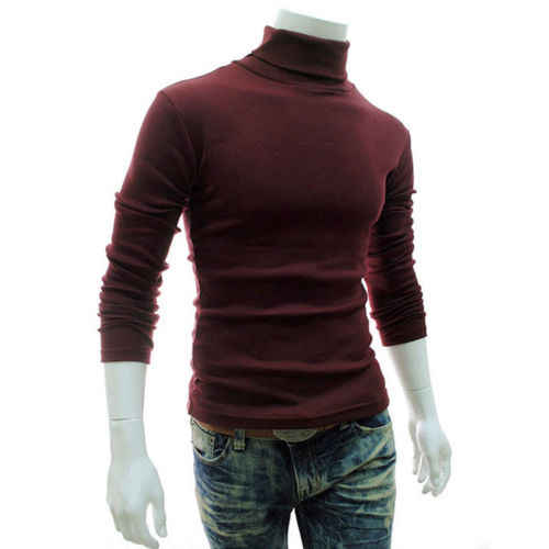 따뜻한 가을 겨울 망 열 스웨터 그린 부르고뉴 화이트 블랙 그레이 터틀넥 풀오버 스트레치 소프트 얇은 스웨터