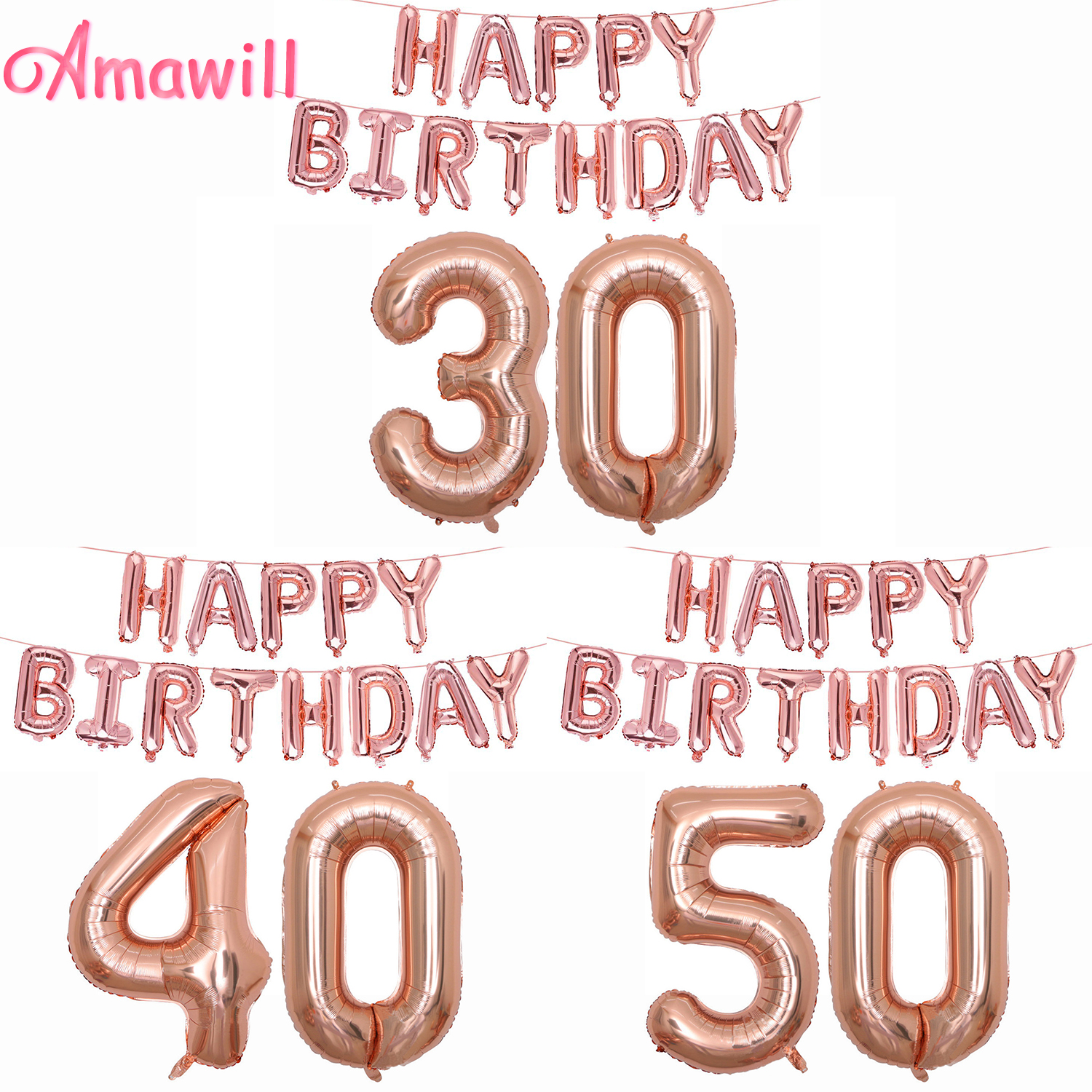 Amawill Rose Gold Happy Birthday 30 Foil Balloons 16th
