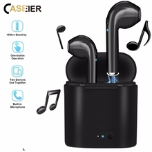 CASEIER Bluetooth Wireless i7S TWS Earphone For iPhone Sports Dynamic Stereo Earbud Running Charging Box Mic Phone Headsets caseier in ear wireless bluetooth earphone hifi stereo sports for universal phone headphone wireless charging box case headsets