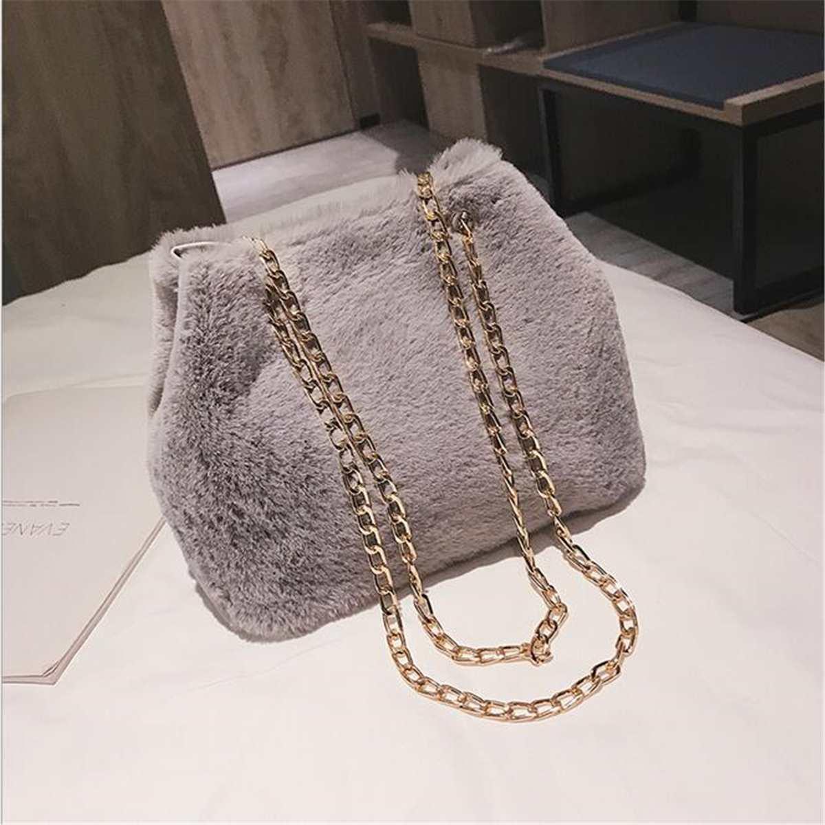 Osmond Feminine Bolsa Women Handbag Plush Chain Bag Fashion Faux Fur Messenger Bag Female Shoulder Crossbody Bag Ladies Tote 6