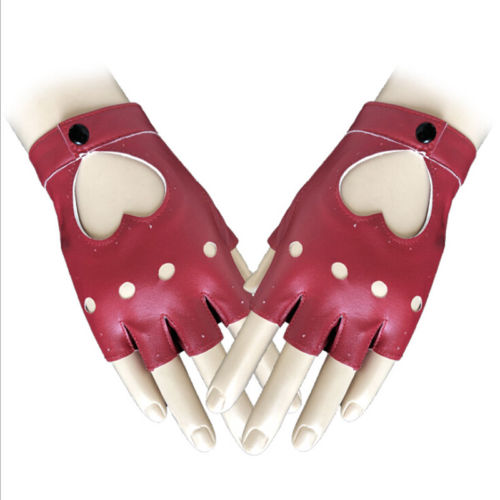 Fashion Women Ladies Half Finger PU Leather Gloves Fingerless Palm Driving Show