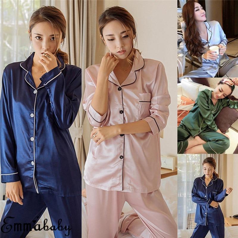 2Pcs Women Silk Satin Casual Loose Solid   Pajamas     Set   Long Sleeve Tops+Pants Sleepwear Nightwear Autumn Clothes