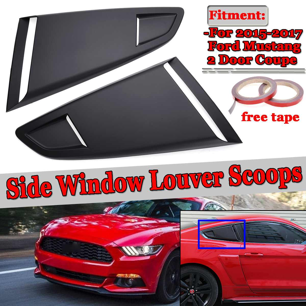 New 2pc Car Side Rear Window Quarter Louver Side Vent Deflector Scoop Cover For Ford For Mustang 2015 2017 2Dr For Coupe Model