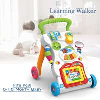 Baby Toys Learning Walker Music Sit to Stand Activity Panel Sit Play Center Toddler Baby Activity Wheel Baby Walker Safety