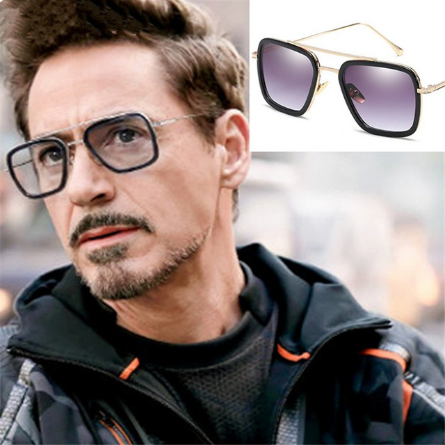 f73549ae9b57d XojoX Men Vintage Steampunk Sunglasses Brand Designer Tony Stark Iron Man  Goggles Retro Windproof Steam Punk