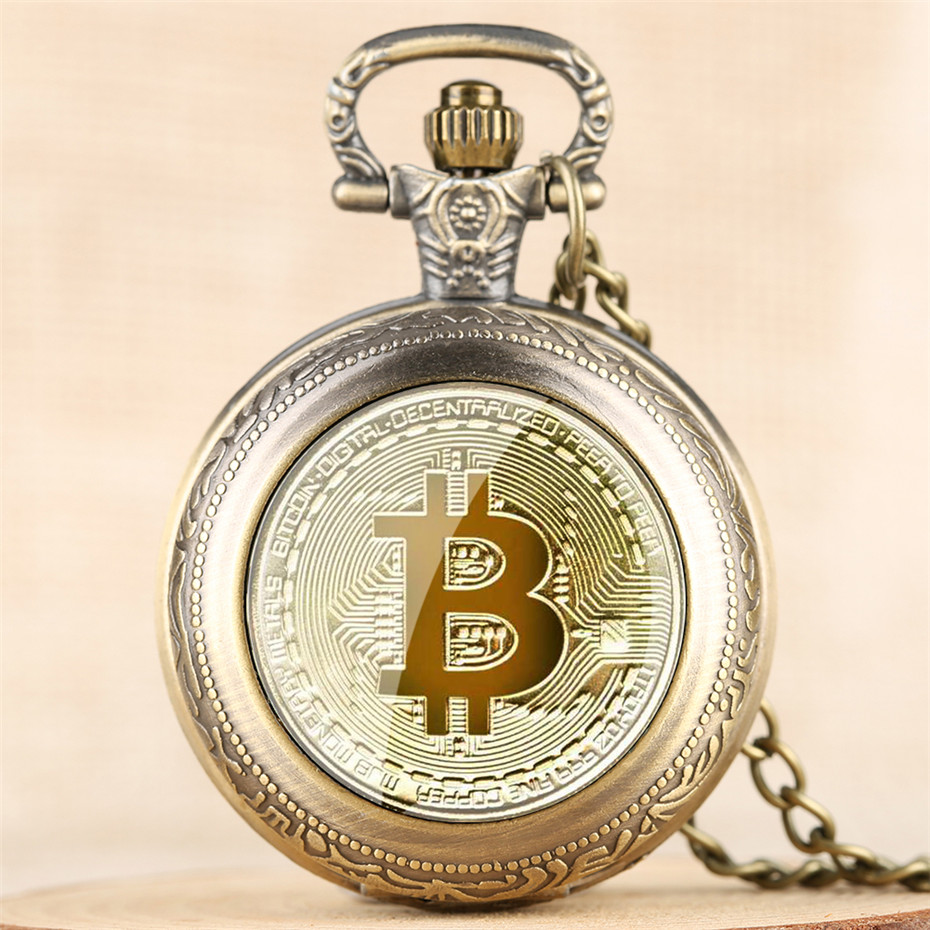 Exquisite Bitcoin Design Full Hunter Quartz Pocket Watch Numerals Display Pendant Clock Men Women With Retro Necklace Chain Relo