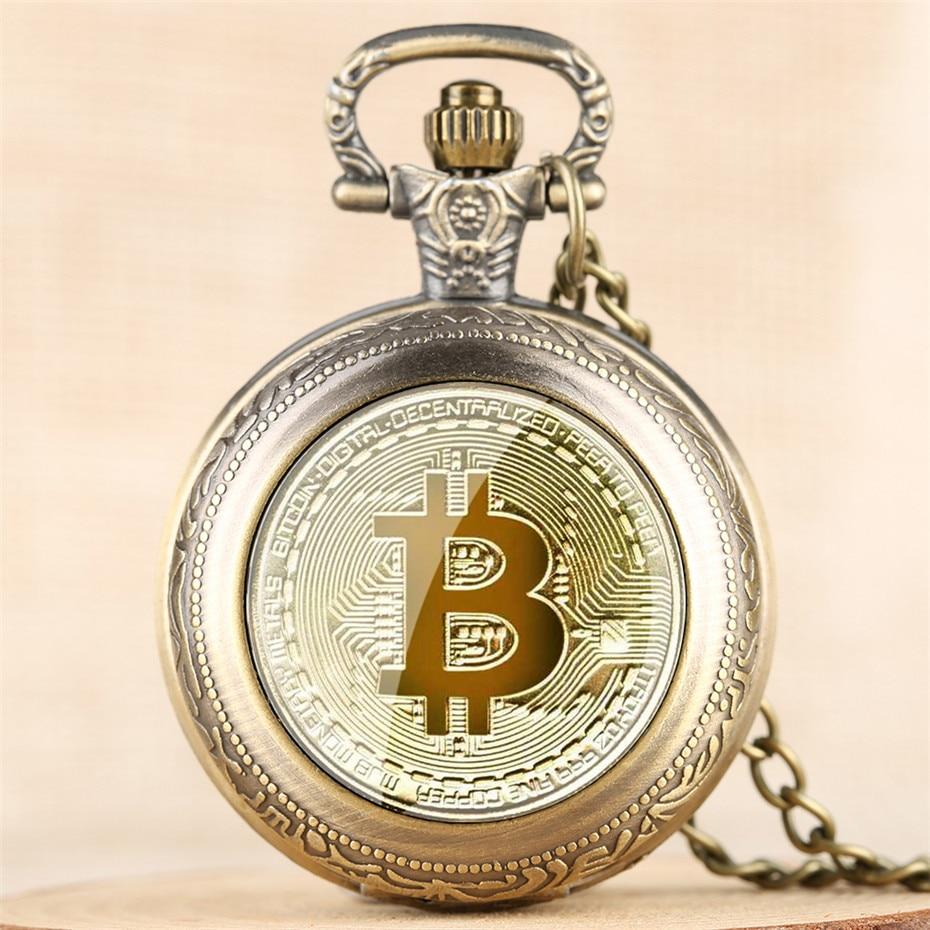 Exquisite Bitcoin Design Full Hunter Quartz Pocket Watch Numerals Display Pendant Clock Men Women with Retro Necklace Chain relo