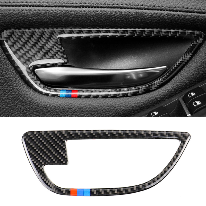 Image 2 - For BMW 5 Series F10 2011 2012 2013 2014 2015 2016 2017 4pcs Carbon Fiber Car Door Handle Door Bowl Cover-in Interior Mouldings from Automobiles & Motorcycles