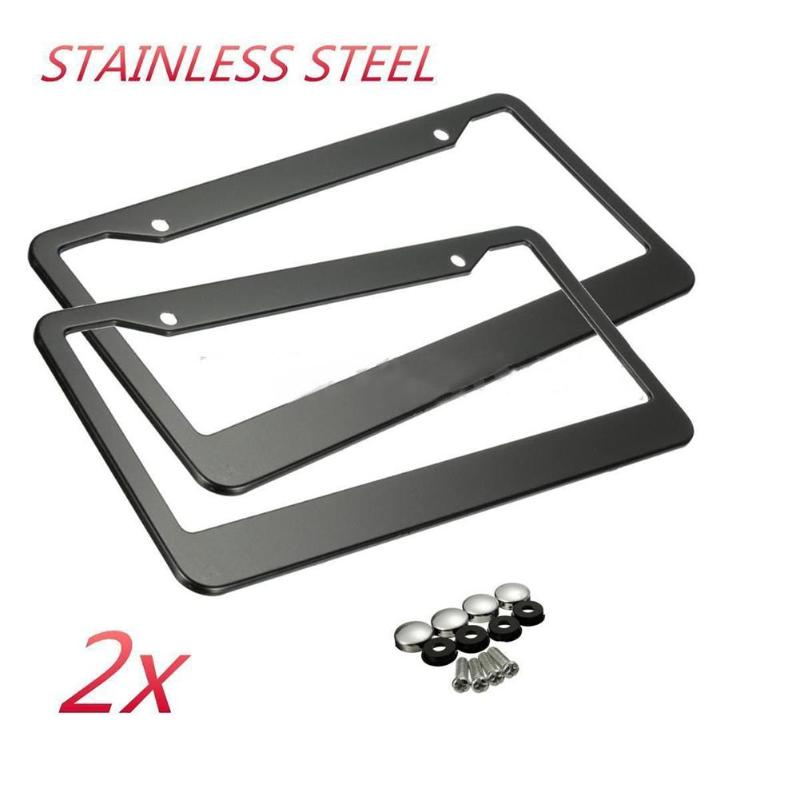 2Pcs 12in X 6in Stainless Steel Car Auto License Plate Frame Covers Kit For Auto Truck Vehicles Only For American Canada Car New