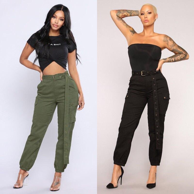 Streetwear Cargo   Pants   Women Casual Joggers Army Green Black High Waist Loose Female Trousers Ladies   Pants     Capri   Without Belt
