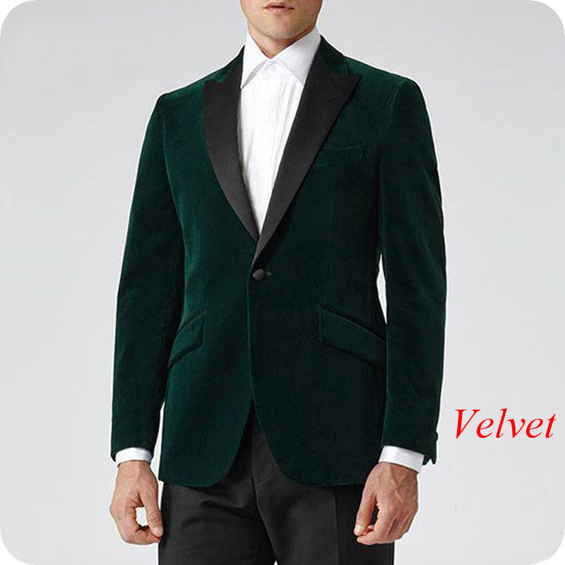 Gentle Blue Men Classic Wedding Suits 2019 Velvet Men Blazer Smoking Jacket Groom Tuxedo 2Piece Coat Pants Costume Homme Mariage