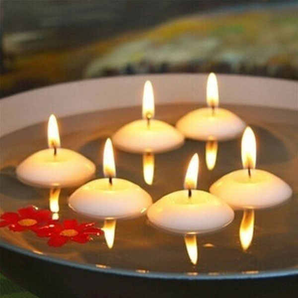 20pcs Small Unscented Floating Candles Home Decor Wedding Birthday Party Dedals Romantic Round Water Floating Candle Home Decor